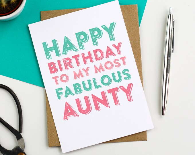 Happy Birthday Most Fabulous Aunty Celebration Typographic Greeting Card