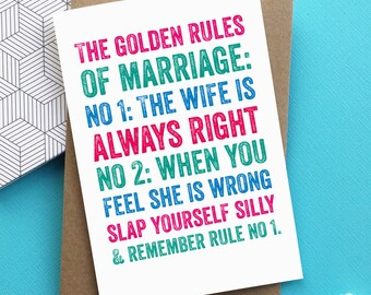 Rules of Marriage Funny Anniversary Greeting Card
