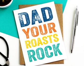 Dad Your Roasts Rock Letterpress Inspired Contemporary Funny Mother's Day British Made Greetings Card DYPFD034