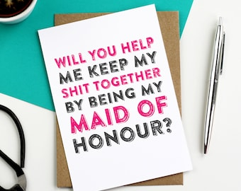 Will You Help Me Be My Maid Of Honour Funny Contemporary Wedding Bridesmaid Greetings Card