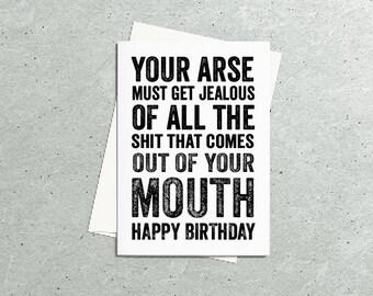 Joke Mouth Birthday Contemporary British Made British Humour Letterpress Inspired Greetings Card