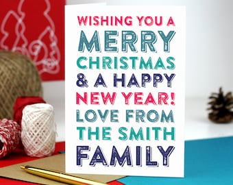 Merry Christmas Personalised Family Boxed Christmas Card Set Typographic DYPCH23