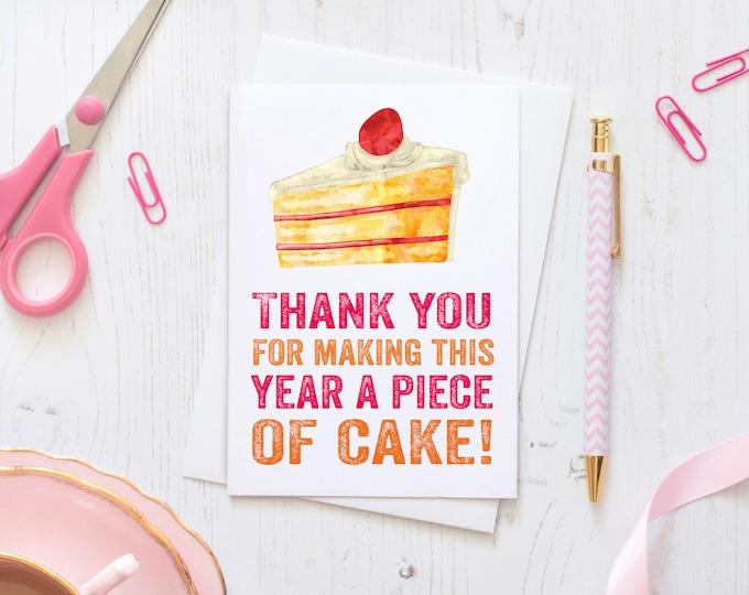 Thank You Teacher Piece of Cake Letterpress Inspired Thank You Teacher Card
