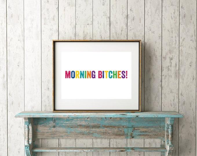 Morning Bitches Rainbow Funny Print
