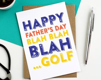 Happy Father's Day Blah Blah Blah Golf Funny Typographic contemporary Letterpress Inspired Greetings Card DYPFD022