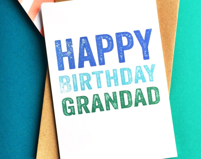 Happy Birthday Grandad Contemporary Letterpress Inspired British Made Woodblock Greetings Card DYPHB87