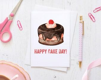 Happy Cake Day Watercolour Print Happy Birthday Card