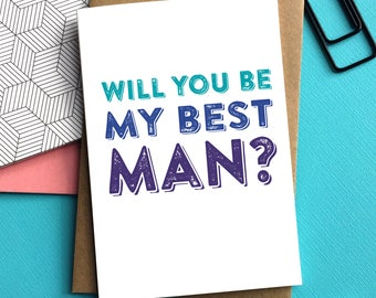Will You Be My Best man Contemporary Typographic Wedding Celebration Wedding Party Greetings Card UK DYPW031