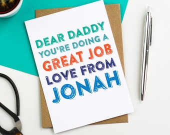 Dear Daddy Personalised Father's Day Humour Contemporary Typographic Colourful luxury Greetings Card for Father's Day