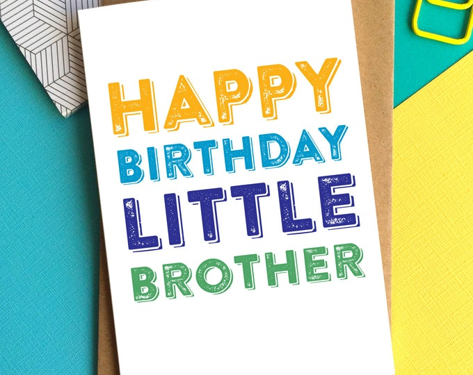 Happy Birthday Little Brother Funny Sibling Contemporary Inspired British Made Woodblock Birthday Greetings Card DYPHB98