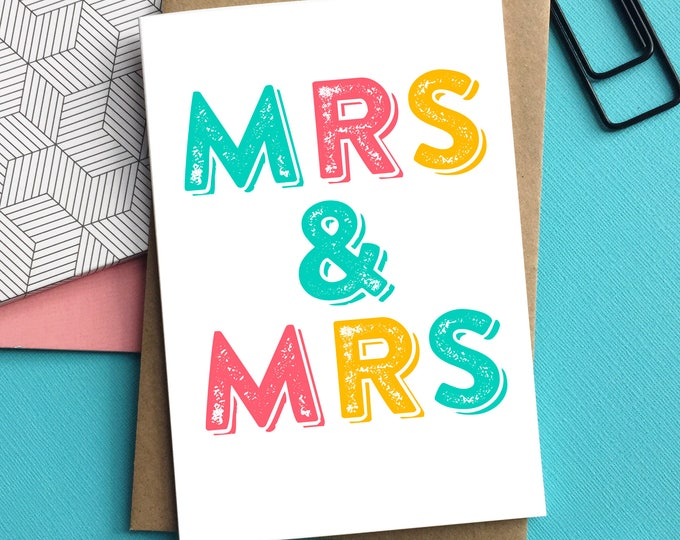 Mrs & Mrs Letterpress Inspired Typographic Contemporary Wedding Celebration Greetings Card DYPW026