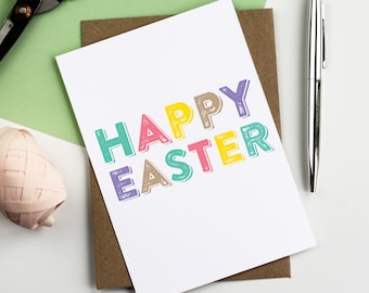 Happy Easter Typographic Contemporary Colourful Greetings Card