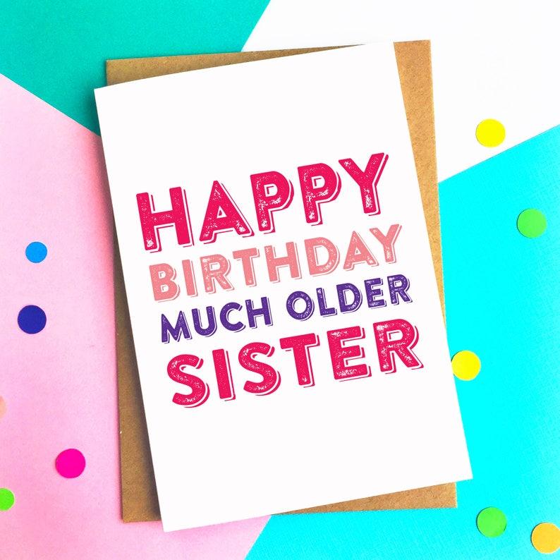 gelukkige verjaardag veel oudere zus grappig grap hedendaagse | etsy