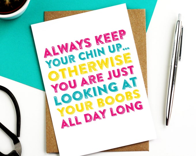 Keep Your Chin Up Get Well Greetings Card Letterpress Inspired, Contemporary Woodblock British Made Funny Get Well Card DYPS003