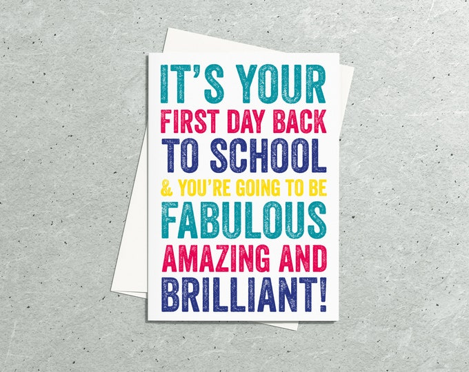 Your First Day Back to School or Work positivity celebration Greeting Card
