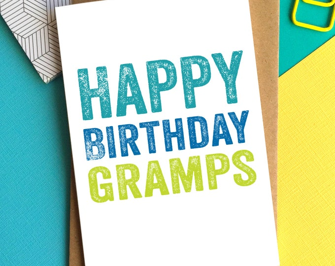 Happy Birthday Gramps Contemporary Letterpress Inspired British Made Woodblock Birthday Greetings Card DYPHB85