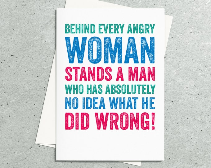 Behind Every Woman Cheeky Funny Joke Contemporary Typographic Birthday Greetings Card