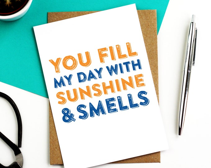 You Fill My Days With Sunshine and Smells Cheeky Funny Contemporary Typographic Valentines Birthday Greetings Cards DYPL038