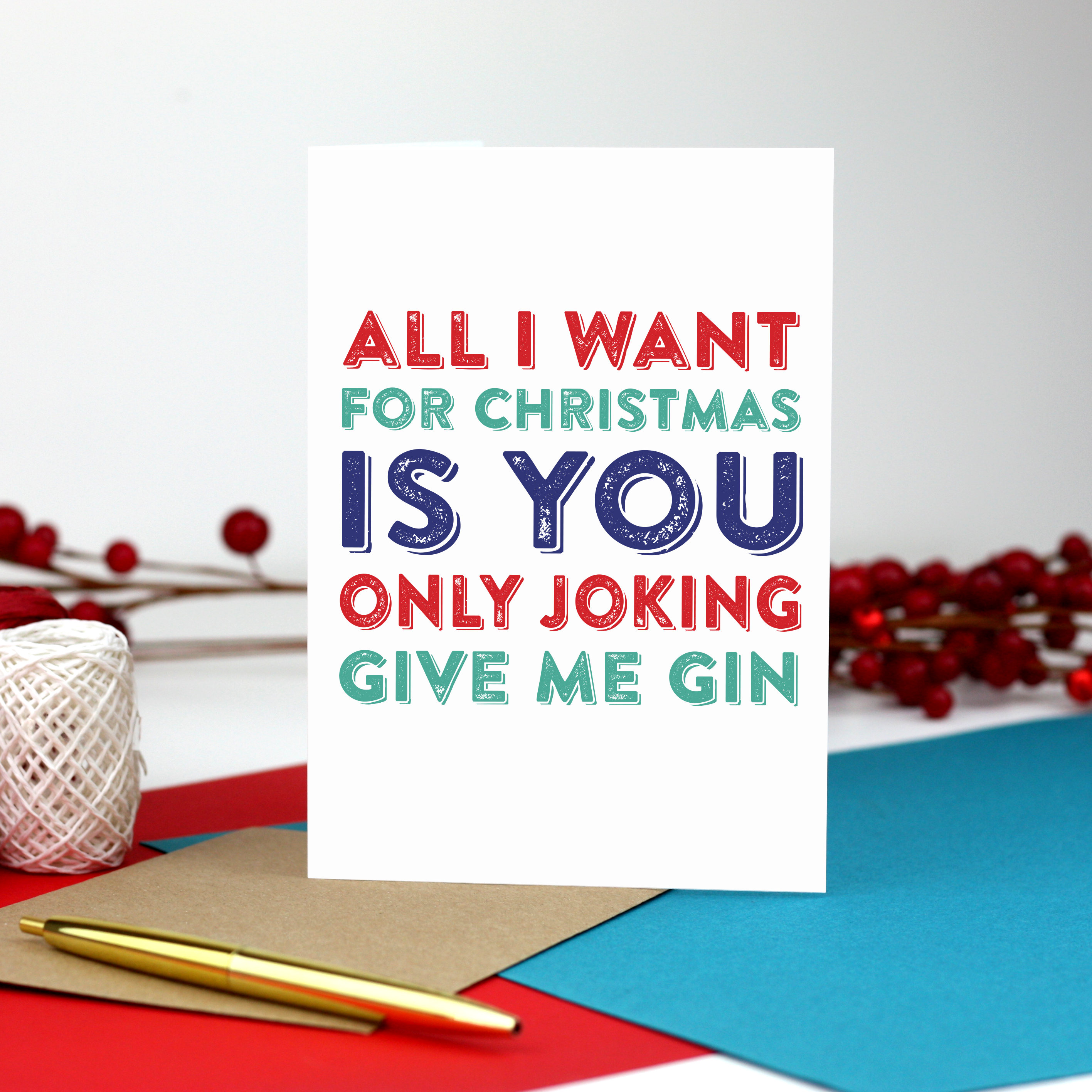 All I Want for Christmas Is You Only joking give me gin | Etsy