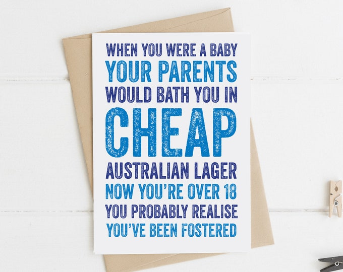Birthday Lager Funny Joke British Made Greetings Card