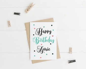 Personalised Happy Birthday Calligraphy Style Greeting Card