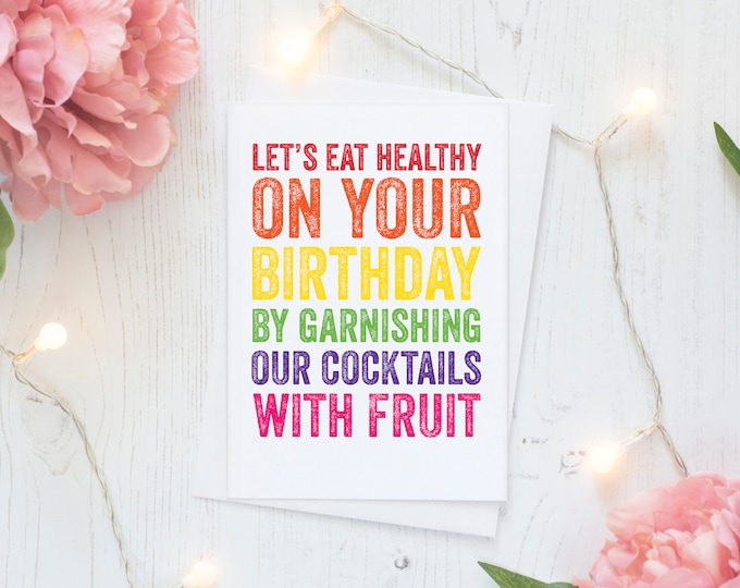 Happy Birthday Fruity Cocktails Funny Typographic Contemporary Letterpress Inspired Greetings Card