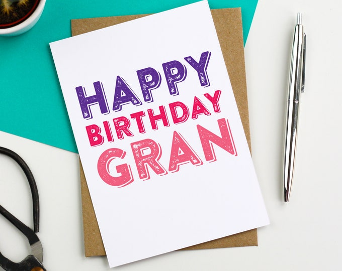 Happy Birthday Gran Contemporary Letterpress British Made Woodblock inspired Greetings Card DYPHB86