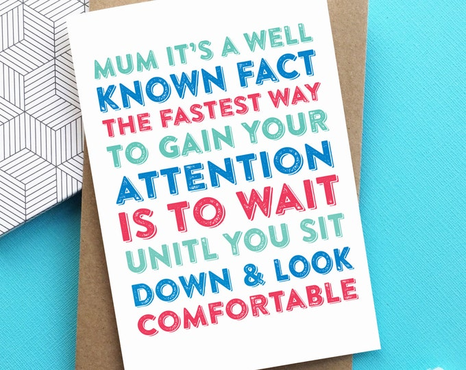 Mother's Day Fastest Way to Gain Attention Letterpress Inspired Typographic Greetings Card