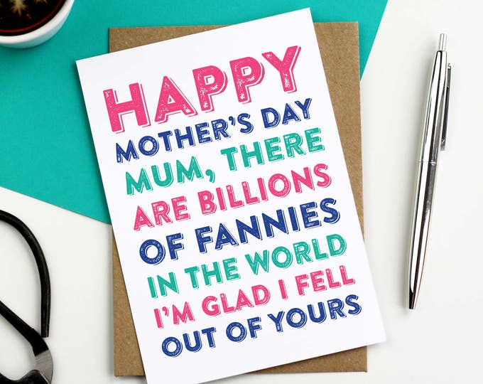 Happy Mother's Day Billions of Fannies Funny British Humour Greetings Card DYPHMD015