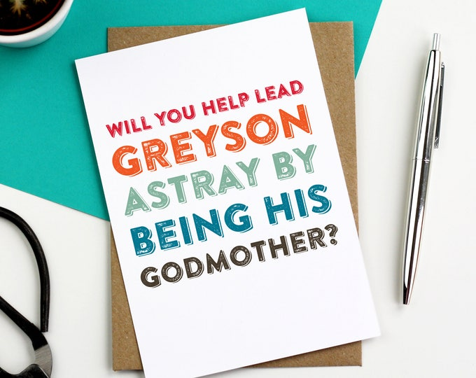 Will You Be My Godparent Personalised Card New Baby Contemporary Typographic Joke Card