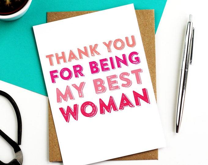 Thank You For Being Best Woman Best Man BridesMaid Wedding Greeting Card DYPW028