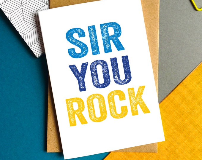Sir You Rock Contemporary Letterpress Inspired Thank You Teacher Card