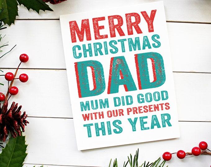 Merry Christmas Dad Presents Christmas Card