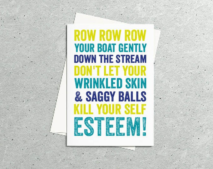 Row Row Row your boat funny Birthday card Contemporary Typographic British Greetings Card