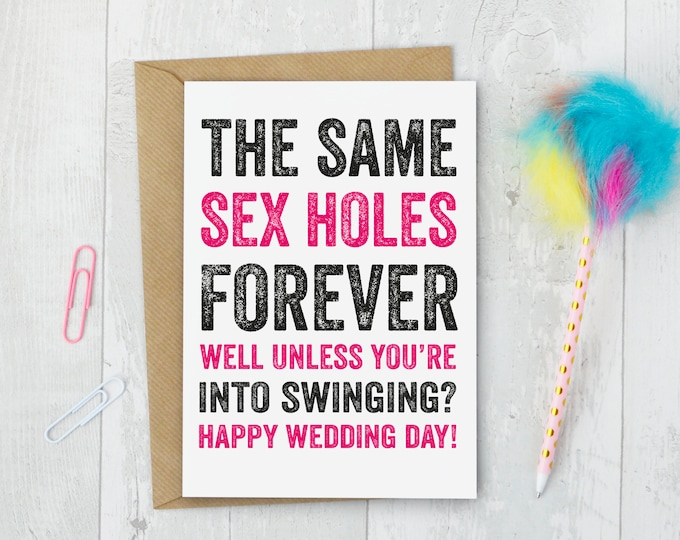 Funny Rude Wedding Card for Happy Couple Greetings Card DYPW039