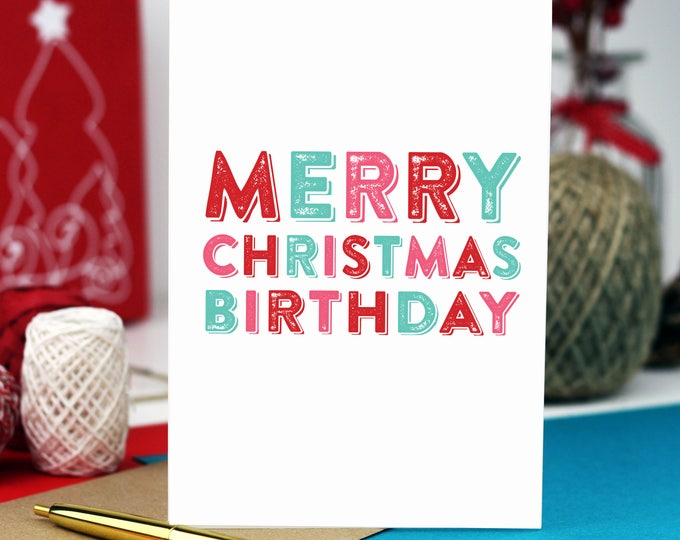 Merry Christmas Birthday Cheeky Typographic Funny British Inspired alcohol Greetings Card DYPCH08