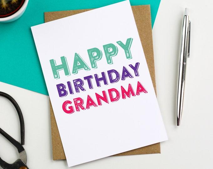 Happy Birthday Grandma Lovely Contemporary Letterpress Inspired British Made Woodblock Greetings Card