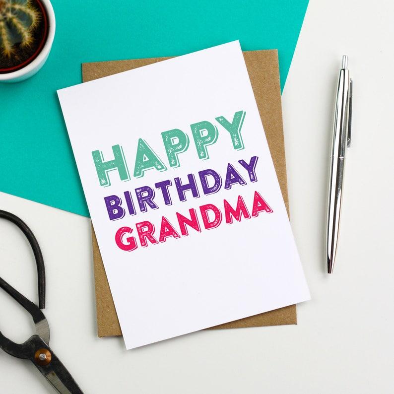 Happy Birthday Grandma Lovely Contemporary Letterpress image 0