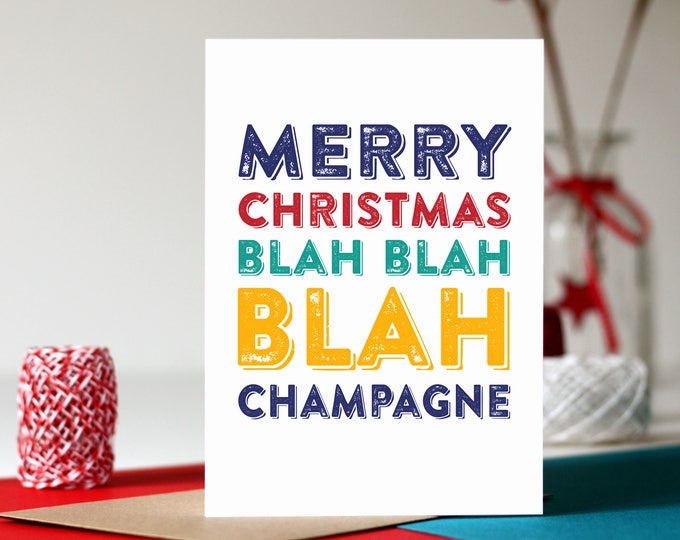 Merry Christmas Blah Blah Blah Funny Alcoholic Christmas Typographic Greeting Cards
