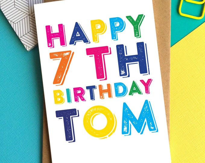Happy Birthday Personalised Name and Numbers  Colourful Birthday Greetings Card