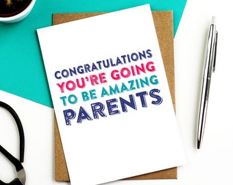 Congratulations You're Going To Be Amazing Parent New Baby Joke Contemporary Typographic Card DYPNB002