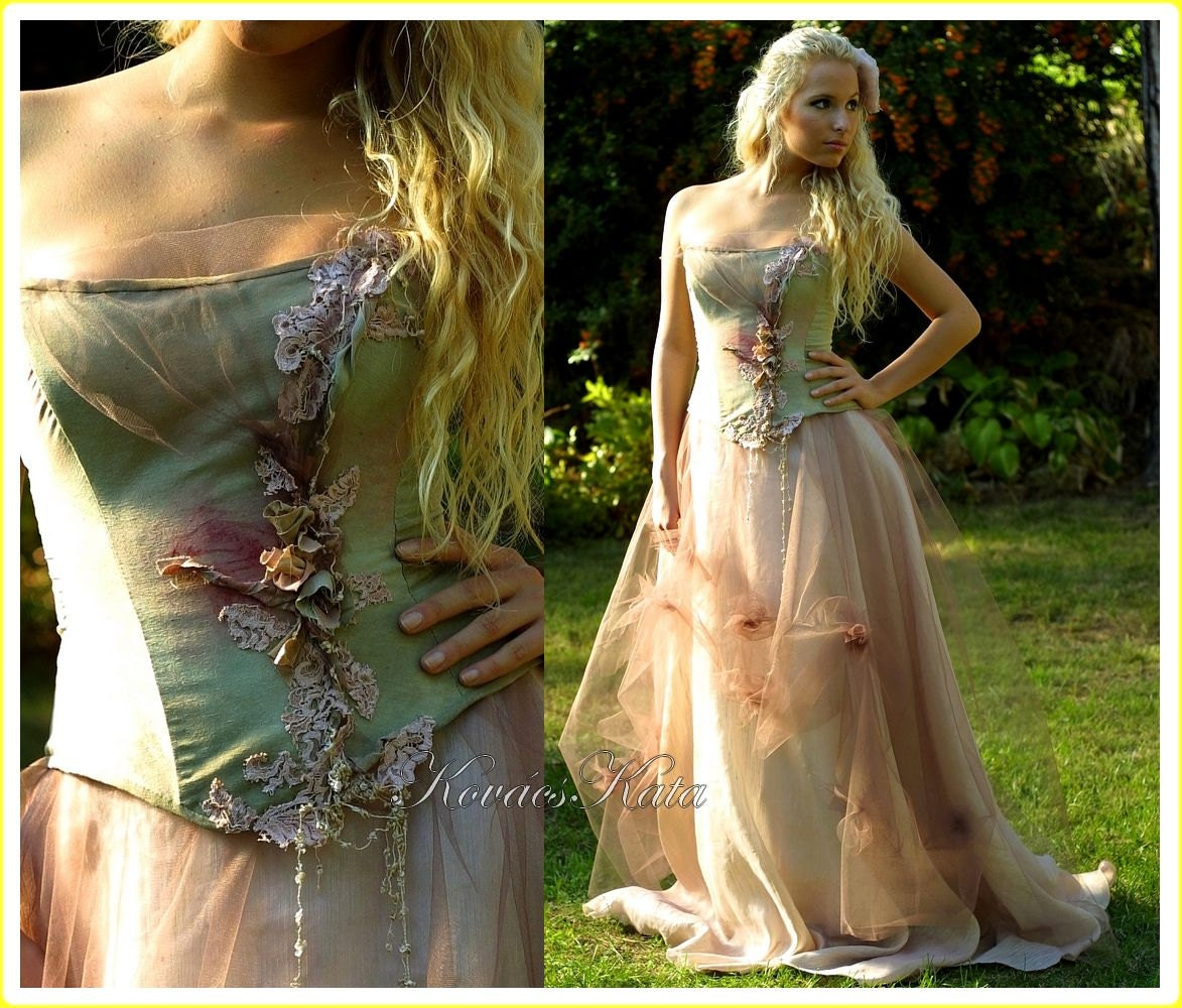 Magical Woodland Fairy Silk Fantasy Corset Wedding Gown