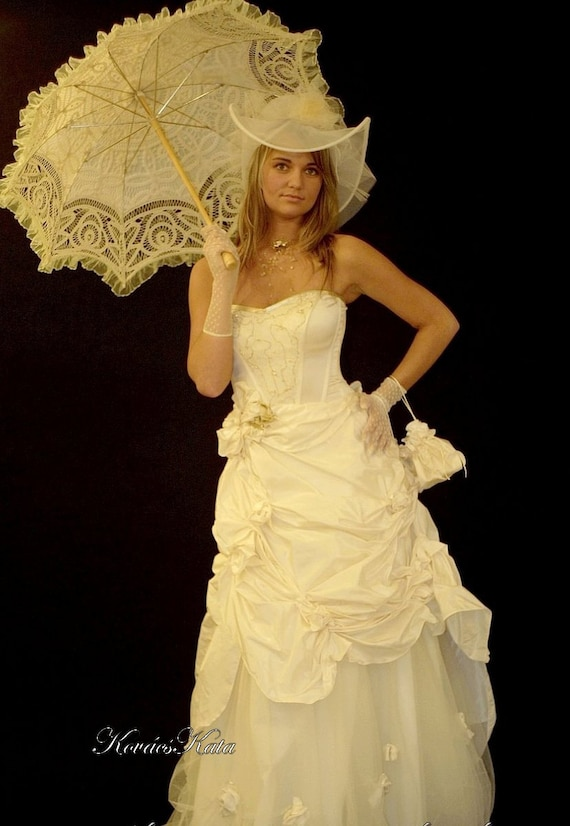 Steampunk Wedding Dresses | Vintage, Victorian, Black Steampunk Victorian-style Alternative Wedding Gown - Emma $950.00 AT vintagedancer.com