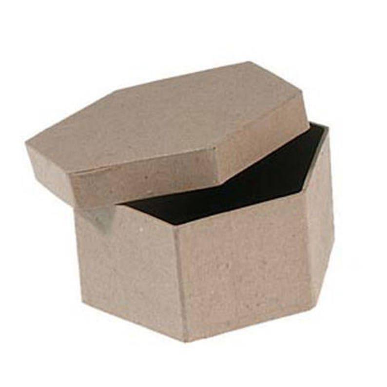 Four Inch Paper Mache Box Hexagon Shape Etsy