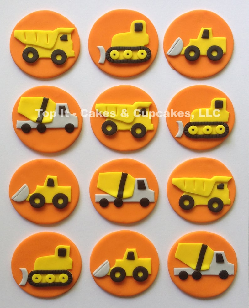 Fondant Cupcake Toppers  Construction Trucks image 0