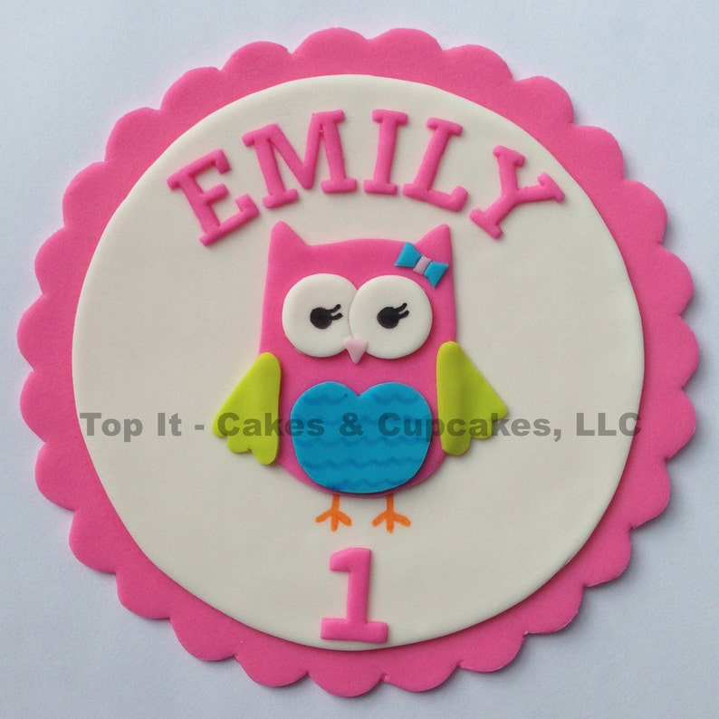 Fondant Cake Topper  Look Whoo's Turning  Owl image 0