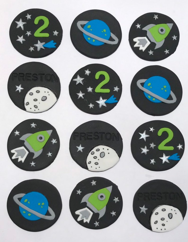 Fondant Cupcake Toppers  Space II image 0