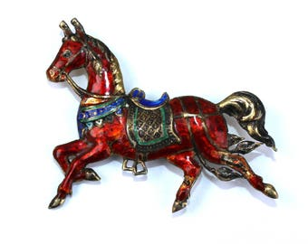 Rare horse brooch. Sterling Siam enameled brooch. Antique lapel pin. 50s jewelry. Equestrian jewelry. Sterling Siam horse pin. Gift for her.
