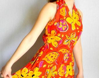 Vintage Summer Halter Dress. 80s Sundress. Swing  Dress. Tropical Print. Size Small. Tangerine Tango . Orange Yellow Pink Colors.