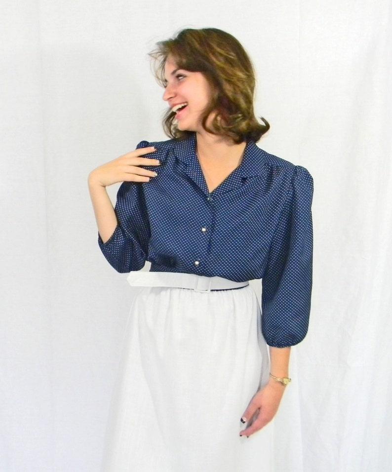 60s Navy blue white dress. Twee dress. Peter Pan collar dress. Swiss dot.  Mad Me... 60s Navy blue white dress. Twee dress. Peter Pan collar dress. 1a0903ae9